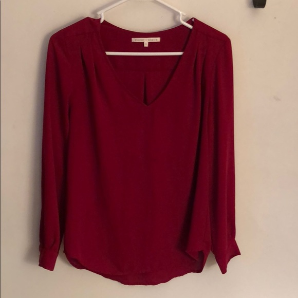 Violet & Claire Tops - Red sheer top, size S